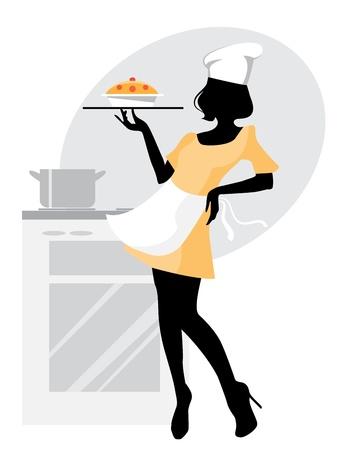 chef caricatura: Vector ilustración de una silueta de mujer del panadero Vectores