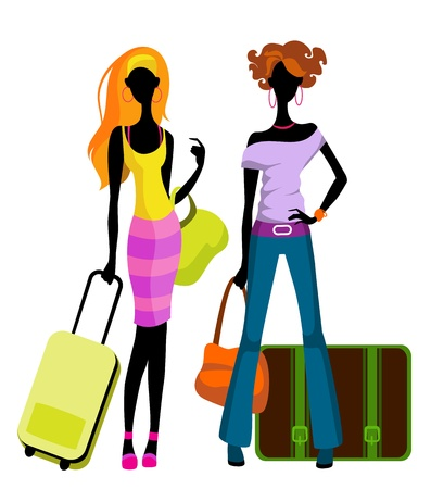 people traveling: Vector illustration  of a girls with suitcases