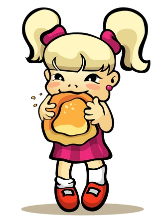 illustration  of a girl eating bun Illustration