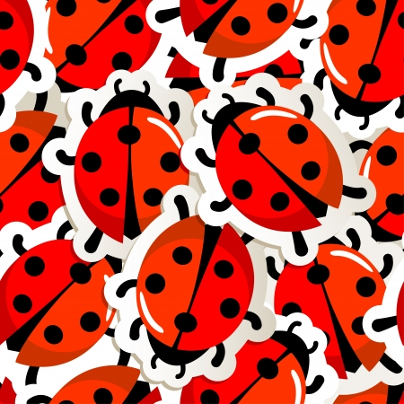 ladybug cartoon:  illustration  of a red ladybug pattern