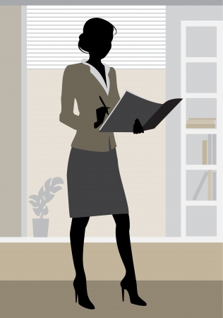businesswoman skirt: illustration  of a businesswoman silhouette in office