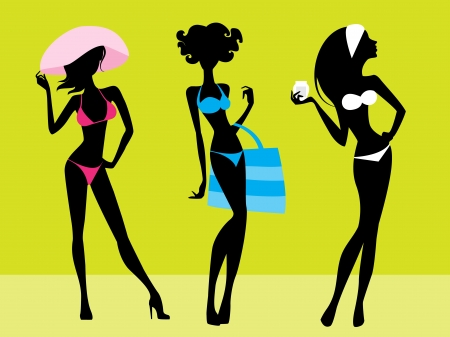illustration  of a three girls silhouettes
