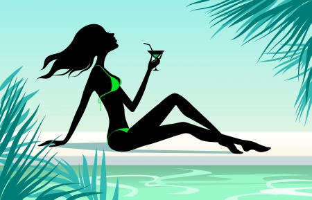 sexy cartoon girl: Girl with cocktail sitting on the beach