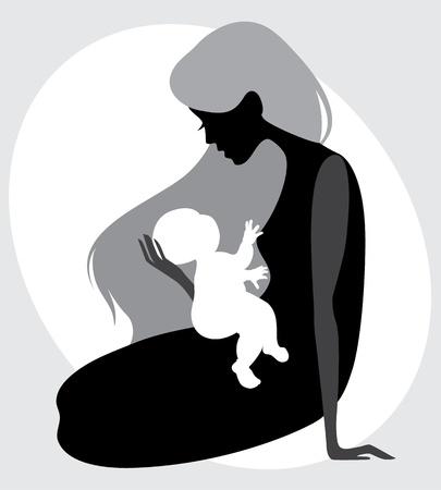 kind silhouet: moeder en kind silhouet Stock Illustratie