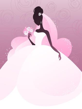 bridal veil: young bride silhouette Illustration