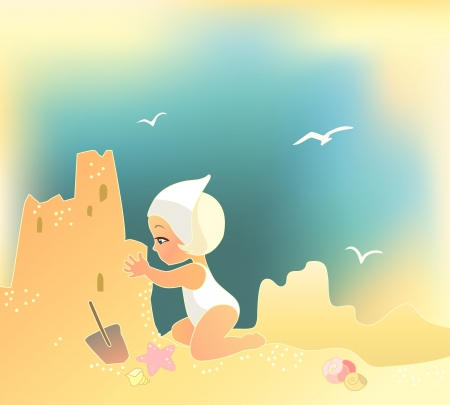 sunbathe: illustration of a girl building sandcastle