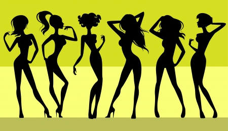 nude female: illustration  of a six girls silhouettes Illustration