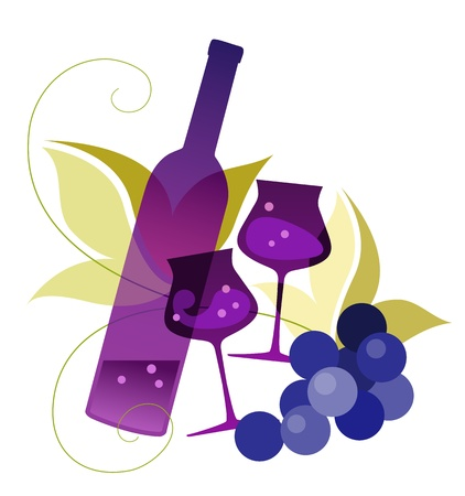 illustration  of a bottle, wineglassses and grape