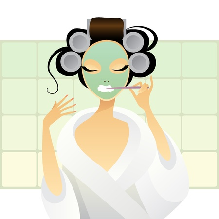 female mask:  illustration of a girl brushing her teeth Illustration