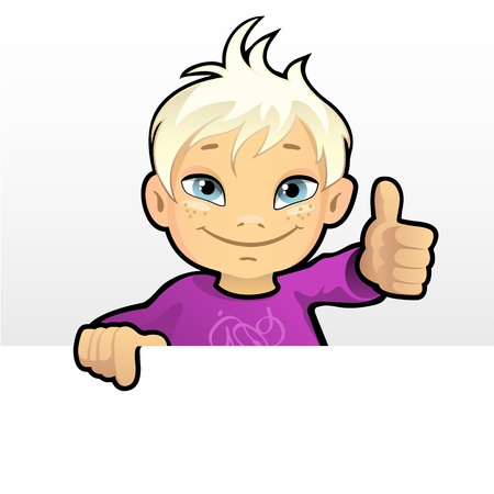 illustration of a smiling boy showing thumb