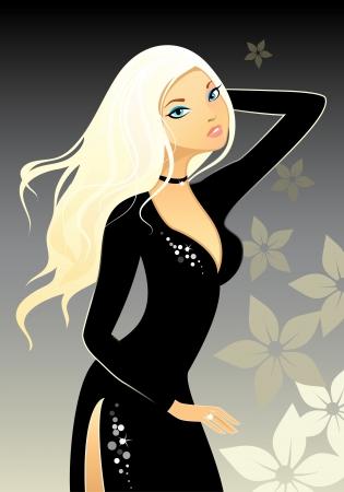 illustration d'une blonde en robe noire