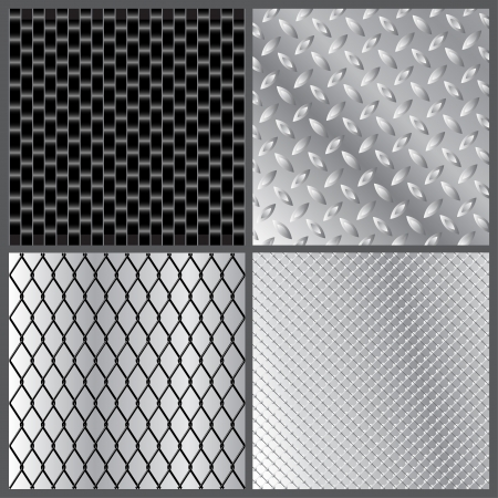 illustration of four grey metal textures