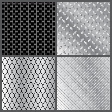 illustration of four grey metal textures