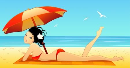 illustration of a girl on a beach