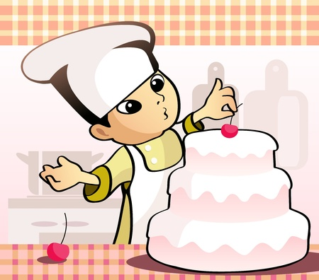 illustration of a confectioner baking a cake 向量圖像