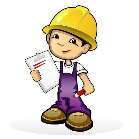 arquitecto caricatura: ilustración de un constructor en el casco amarillo