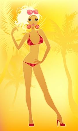 Vector illustration of a girl on the beach