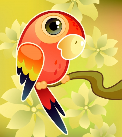 Vector illustration of a red parrot on tree