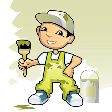 decorando: Ilustraci�n vectorial de un decorador con un cepillo Vectores