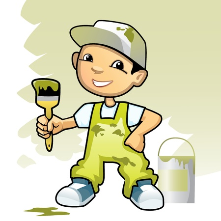 home deco: Vector illustration of a decorator with brush