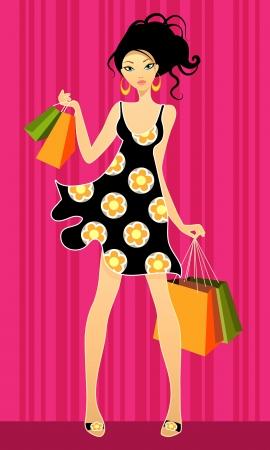 chicas de compras: Ilustraci�n vectorial de un centro comercial las j�venes Vectores