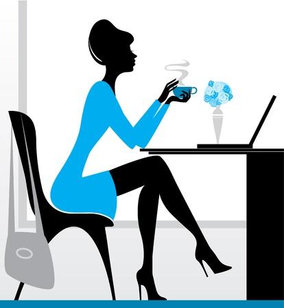 tarde de cafe: Ilustración vectorial de una niña con ordenador portátil