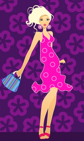 Vector illustration of a blonde with handbag