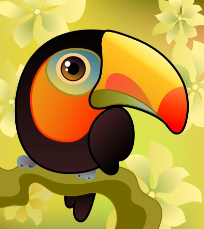 Vector illustration of a toucan on the  branch Vectores
