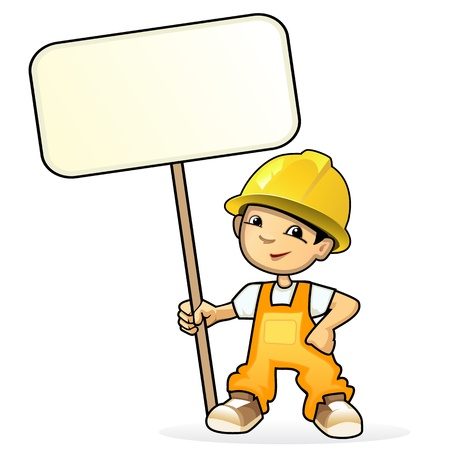 Vector illustration of a young builder with sign Vectores