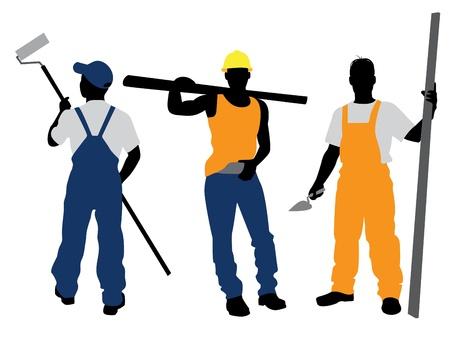 ingenieurs: Vector illustratie van een drie werknemers silhouetten Stock Illustratie