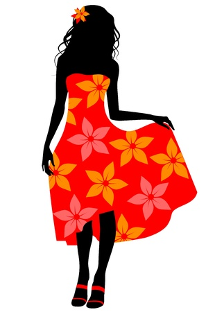 Vector illustration of a girl in red dress silhouette