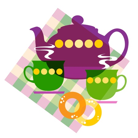 Vector illustration of a  set of the tea things