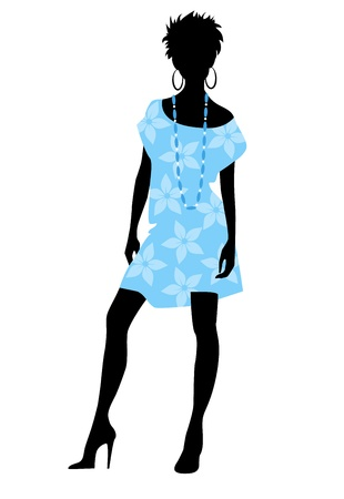 Vector illustration of a girl in blue dress silhouette