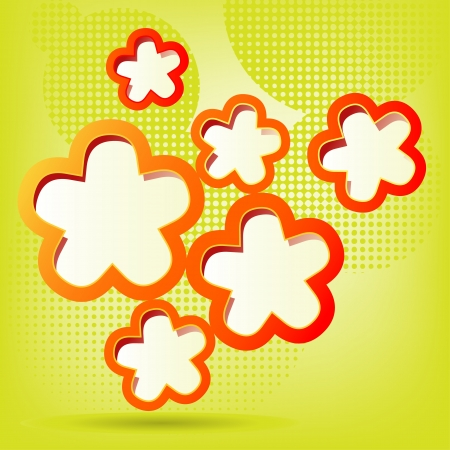Vector illustration of a floral background in green