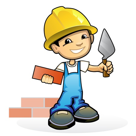 trowel: Vector illustration of a young mason with trowel