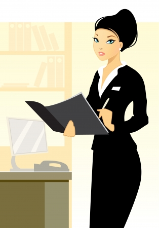 Vector illustration of a young secretary in office Vectores