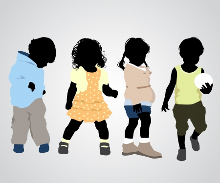 Vector illustration of a four children silhouettes