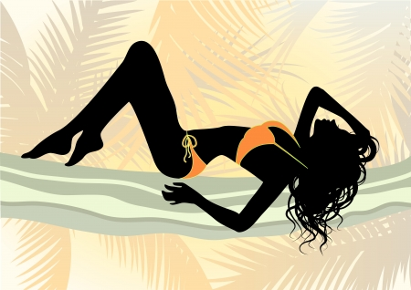 sexy bikini girl: Vector illustration of a girl in bikini on the beach Illustration