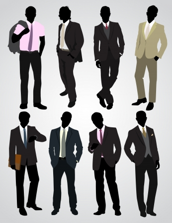 traits: Vector illustration of a eight businessman silhouettes