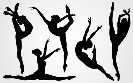 Vector illustration black silhouettes of a ballerina Illustration