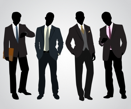 Vector illustration of a four businessman silhouettes