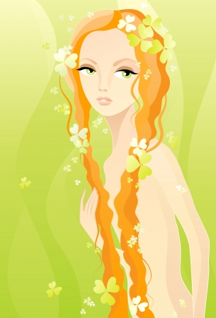 Vector illustration of a naked girl on green
