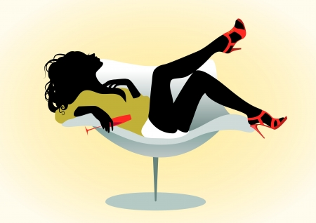 Vector illustration of a girl on chair with wineglass
