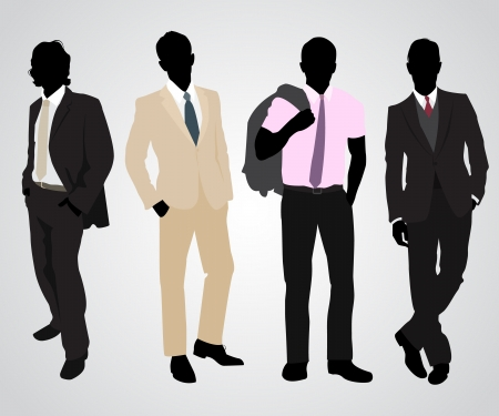 male fashion model: Vector illustration of a four businessman silhouettes