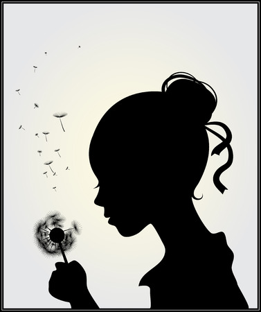 Vector illustration of a girl with dandelion Vector