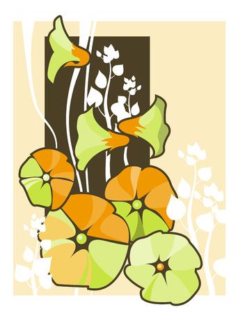 Vector illustration of a flower vines background
