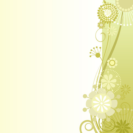 Vector illustration of a floral background in mustard
