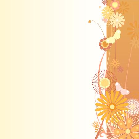 illustration of a floral background in orange