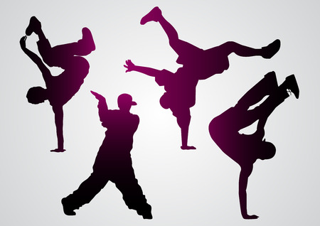 hip hop silhouette: illustration of a break dancers  black silhouettes
