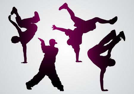 illustration of a break dancers  black silhouettes